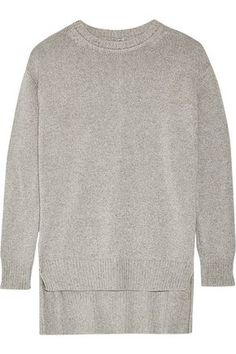 ADAM LIPPES WOMAN COTTON, CASHMERE AND SILK-BLEND SWEATER GRAY. #adamlippes #cloth #