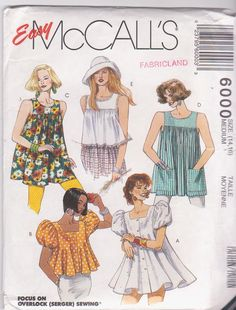 McCalls 6000 Easy Misses Trapeze Smock Tops Sewing Pattern Sz Tunic Sewing Patterns, Vintage Dress Patterns, Clothing Patterns, Vintage Dresses, Paper Patterns, Fashion Terms, Women's Fashion, Fashion Illustration Sketches, Kinds Of Clothes