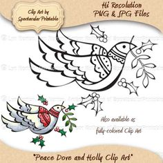 Peace Dove and Holly Clusters Digi Stamp. Color it yourself! $2.00, via Etsy: https://www.etsy.com/listing/116051849