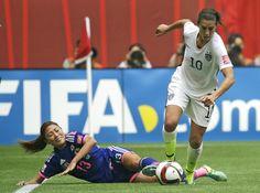 Japan's Rumi Utsugi, left, goes down as United States' Carli Lloyd . Carli Lloyd, Fifa Women's World Cup, World Cup Final, Free Advertising, Love Mom, Handbags Michael Kors, Finals, United States, Running