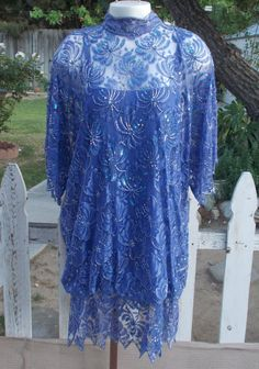 Vintage 1980s Women's Nora Zandra' Judith Ann Creations Blue Beaded Floral Lace Angel Wing Sleeves Bubble Drop Waist Cocktail Dress by Sweetlorraines2 on Etsy