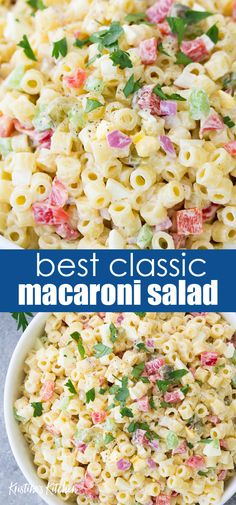 Macaroni Salad with egg, sweet pickles and a creamy dressing is a tasty side dish. My best macaroni salad recipe is quick and easy to make! Yummy Recipes, Easy Potluck Recipes, Potluck Dishes, Easy Salad Recipes, Easy Salads, Quick Easy Meals, Pasta Dishes, Homemade Macaroni Salad, Creamy Macaroni Salad