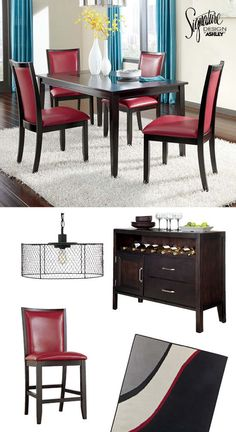 Marvelous Dining Room Furniture   Bar Stools   Table   Chairs   Trishelle Red Dining  Room