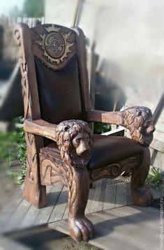 Купить Кресло - коричневый, кресло, трон, состаренное дерево, состаренная мебель, состаренная медь