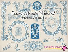 Decorative Ornament Sampler - Vol. 2  40 Photoshop Brushes & PNG Images - $12