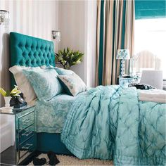 Lovely color ..turquoise bedroom.