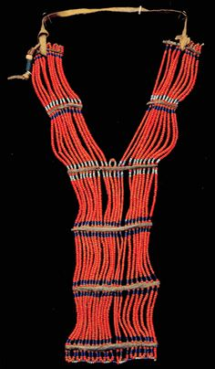 Africa | Contemporary neck piece from the Arushi people of Ethiopia | Glass beads and leather