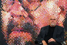 US artist Chuck Close sits in front of one of his paintings, a self Portrait, 24 May 2007 on show at the exhibition 'Chuck Close returned looks, Portraits 1969 / in the 'Ludwig Forum' in. Get premium, high resolution news photos at Getty Images Chuck Close Paintings, Chuck Close Art, Chuck Close Portraits, Famous Portrait Artists, Famous Portraits, Famous Artists, Photorealism, Art World, Cool Artwork