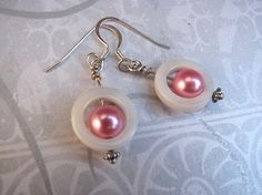 Silver dangle earrings vintage pearls