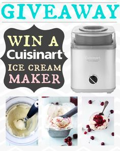 Cherry Swirl Vanilla Ice Cream recipe AND  ac chance to win your very own Cuisinart Ice Cream Maker!