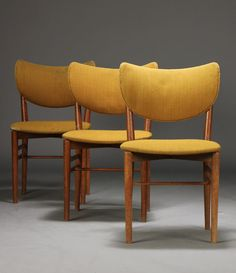 Eva Koppel & Nils Koppel; Oak Side Chairs by Slagelse Mobelvaerk, 1955.