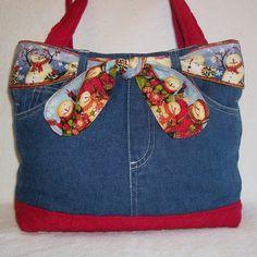 bag, solid bottom 7 ties, different seasonal ties Sacs Tote Bags, Tote Purse, Jean Purses, Purses And Bags, Diy Mode, Denim Purse, Denim Crafts, Craft Bags, Recycled Denim