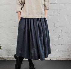 Black / charcoal high waist linen skirt with deep pockets / A - line linen skirt
