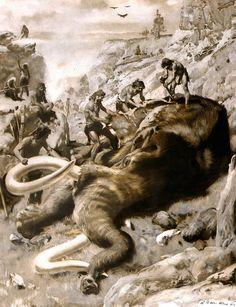 dead mammoth by Zdenek Burian 1961