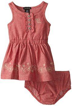 Calvin Klein Baby-Girls Infant Denim Dress with Trim, Red, 18 Months Girls Denim Dress, Baby Girl Dresses, Baby Dress, Girl Outfits, Trendy Girl, Stylish Girl, Cute Baby Girl, Baby Girls, Baby Baby