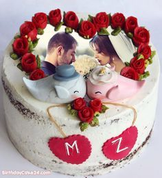 Anniversary Cake With Photo, Marriage Anniversary Cake, Happy Wedding Anniversary Wishes, Happy Anniversary Cakes, Wedding Anniversary Photos, Romantic Anniversary, Wedding Cake With Name, Wedding Cake Roses, Rose Wedding