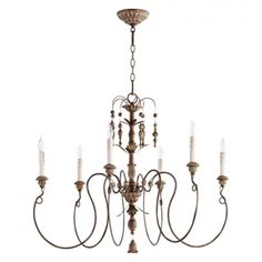 "Quorum 6006-6-70 Salento 32"" 6-Light Chandelier, Persian White - Transitional - Chandeliers - by Hansen Wholesale"