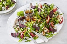 This salad is paired with griddled sweet peaches, earthy beets, creamy gorgonzola and a sticky balsamic reduction to make the perfect barbecue side dish.