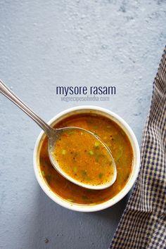 mysore rasam recipe with step by step photos. spiced delicious rasam recipe from mysore. this recipe of mysore rasam is a favorite. Veg Recipes Of India, Healthy Indian Recipes, Veggie Recipes, Vegetarian Recipes, Chicken Recipes, Curry Recipes, Soup Recipes, Cooking Recipes, Rice Recipes