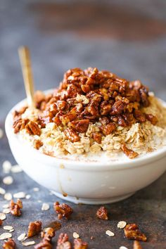 Pecan Pie Overnight Oats - A lighter, HEALTHIER take during the holidays! You can prep everything ahead of time. Just serve into a bowl and top with pecans!