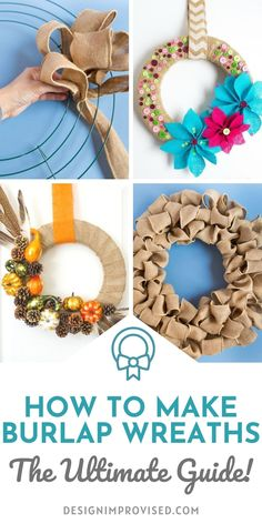 This is the ultimate guide to making DIY burlap wreaths. If you want to make a burlap wreath but aren't sure where to start, you need this! Making Burlap Wreaths, Sunflower Burlap Wreaths, Wreath Making, Fall Wreath Burlap, Burlap Christmas Wreaths, Easter Wreaths Diy, Christmas Holiday, Christmas Crafts, Burlap Crafts