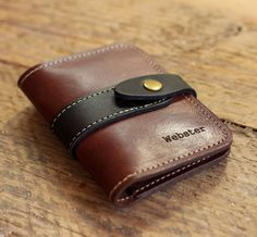 No. 4 Personalized Groomsmen Fine Leather Card Bifold Wallet with snap closure – Groomsman Gift Gifts – Brown and Black