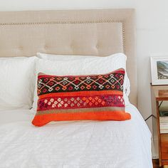 One-of-a-kind Moroccan kilim pillow made from vintage rugs. This is the perfect addition to your simple and classic bedroom or living room. A touch of color that will help you renovate your house without spending a lot. Lucky Collective Textile #LuckyCollective #Kilim #ThrowPillow Indoor Pillow, Moroccan Kilim, Kilim Pillows, Moroccan Throw Pillow, Pillows, Classic Bedroom, Throw Pillows, Vintage Rugs, Pillow Room