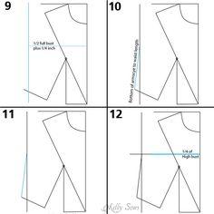 Side seam - Make a bodice pattern - bodice drafting - Melly Sews