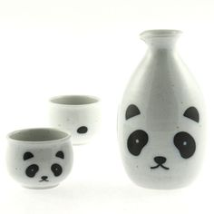 Panda Sake Set Cat Plate by Kotobuki Trading Co. // soooo kawaii, cute! #productdesign