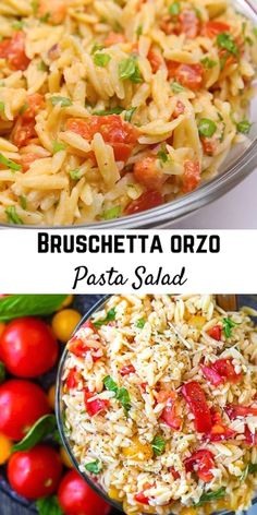 Fresh And Flavorful, This Bruschetta Orzo Pasta Salad Is Going To Be A Summertime Favorite Bonus: No Mayo Or Yogurt So It's Great For Warm-Weather Picnics. Get The Easy Summer Pasta Salad Recipe On Summer Pasta Salad, Summer Salads, Salads For Picnics, Summer Pasta Dishes, Summertime Salads, Pasta Side Dishes, Vegetarian Recipes, Cooking Recipes, Healthy Recipes