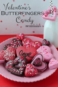 Valentine's Butterfingers Candy Recipe. These are a fun homemade candy that the kids are going to want to get in on! Have some fun in the kitchen!