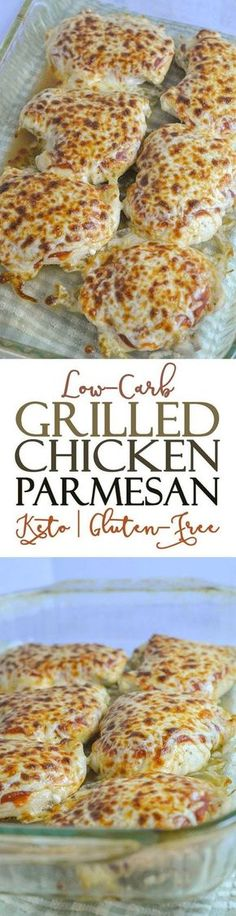 The chicken is seasoned and grilled then topped with flavorful marinara sauce Parmesan and mozzarella cheese and broiled until the cheese is bubbly and browned. Serve with your favorite vegetable and a gluten-free Low Carb Keto, Low Carb Recipes, Diet Recipes, Cooking Recipes, Recipies, Lpw Carb Meals, Carb Free Dinners, Pasta Recipes, Soup Recipes