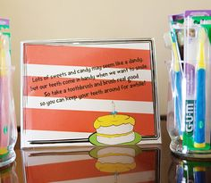 Toothbrushes as party favors!  GREAT idea!!  (Dr. Seuss Party theme here)