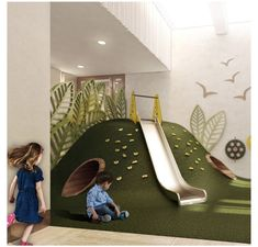 Construcción de un parque infantil doble con columpio Parque infantil propio & Brend & & Kindergarten Interior, Kindergarten Design, Daycare Design, Kids Room Design, Playroom Design, Playroom Ideas, Kids Indoor Playground, Playground Design, Ideas Decorar Habitacion