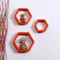 Onlineshoppee Fancy Set of 3 Hexagonal Shape MDF Wall Shelf Big Size ( 10.5 x 4x 10.5) inch Color- Orange >>> Click on the image for additional details. (This is an affiliate link) #FloatingShelves