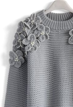 My Flowers and Pearls Sweater in Grey -