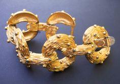 PAULINE RADER Gold Tone Bracelet Textured Rings by RenaissanceFair #teamlove #vintagejewelry #vintagegiftideas