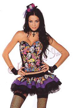 Sexy Halloween Costumes 2010 - 4 PC. Senorita Muerte Costume (Incl. Day of the Dead Corset, Layered Skirt, Shoe Bows & Top Hat)