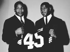 Jim Brown & Ernie Davis. Two Syracuse standouts. Davis won the Heismann Trophy in 1962, was drafted by the Washington Redskins, but died the following year never having played in the NFL.