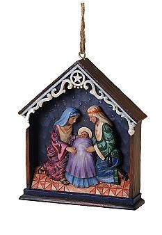 Start at the beginning. The holy family gathers under the Star of Bethlehem in this unique diorama-style nativity scene turned Christmas ornament by Jim Shore. Nativity Ornaments, Christmas Nativity Scene, House Ornaments, Hanging Ornaments, Christmas Tree Ornaments, Christmas Crafts, Christmas Decorations, Holiday Decor, Nativity Scenes