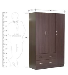 Buy Nashiro Three Door Wardrobe with Two Drawers in Chocolate Beech Finish by Mintwud Online - Modern 3 Door Wardrobes - Modern 3 Door Wardrobes - TEST - Pepperfry Product How To Clean Furniture, Modern Furniture, Home Gate Design, Three Door Wardrobe, Wardrobe Furniture, Gate House, Wardrobes, Tall Cabinet Storage, Drawers