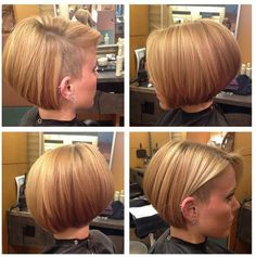 Blonde Highlights and Bob haircut with shaved sides by Rachel at Robinson Mall Salon