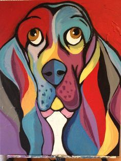 Abstract Basset Hound Painting