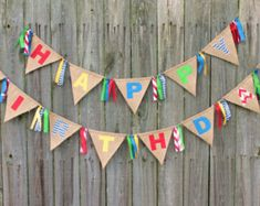 Items similar to Happy Birthday Banner, Burlap Birthday Bunting, Custom Made Burlap Birthday Banner on Etsy Burlap Birthday Banners, Bunting Banner, Happy Birthday Banners, Cake Banner, Pennant Banners, Diy Party Decorations, Birthday Decorations, Fabric Letters, Fabric Bunting