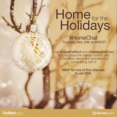 The Home for the Holidays #HomeChat on Twitter this Thursday, Nov. 20th at 8PM ET