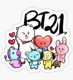 BTS BT21 shooky cooky mang koya chimmy tata RJ Pegatina