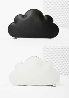 Cloud Up Leather Clutch black and white