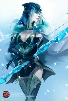 Ashe - League of Legends Fan Art. League of Pictures is a website where you can find League of Legends fan art, cosplay and more! Lol League Of Legends, League Of Legends Characters, Fanart, Fantasy Characters, Female Characters, Master Yi, Splash Art, Liga Legend, Fantasy Kunst