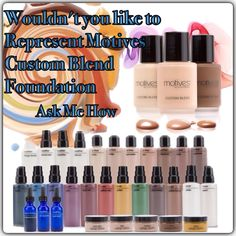 Motives Custom Blend Foundation allows you to mix from 31 products to create a perfect foundation for any skin tone.  Full training provided, & its airbrush compatible. Email michele@lacalisto.com for more info #MUA #motd #motives #motivesmavins #makeup #makeupartist