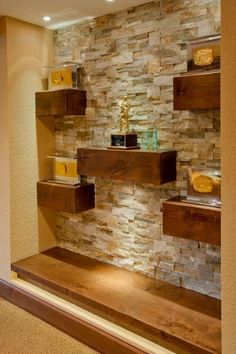 Floating Wood Shelves on Natural Stone Wall